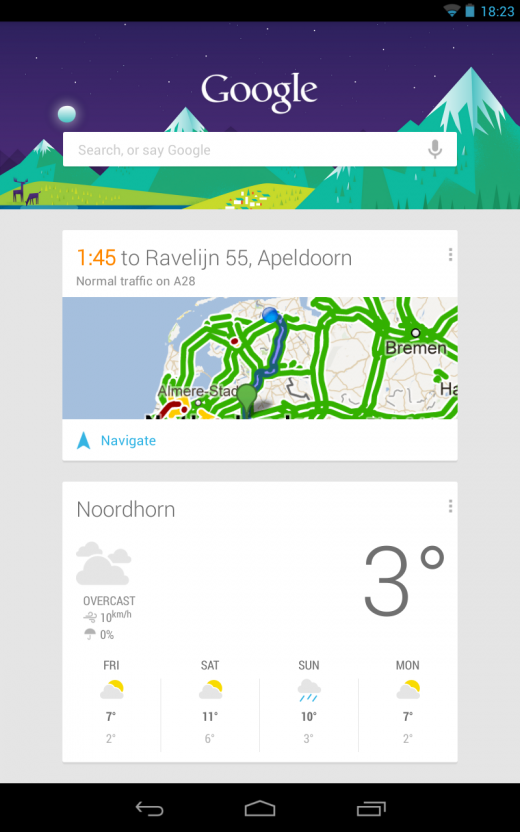 Google Now (traffic and weather)