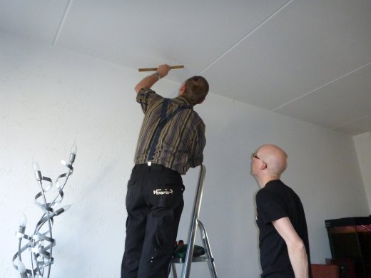 Installing home theater projection (measuring out the projector mount)
