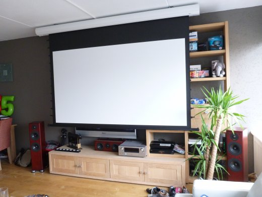 Installing home theater projection (the screen is down)