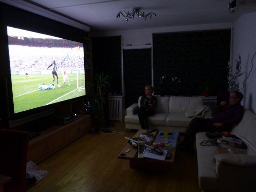 Installing home theater projection (watching football)